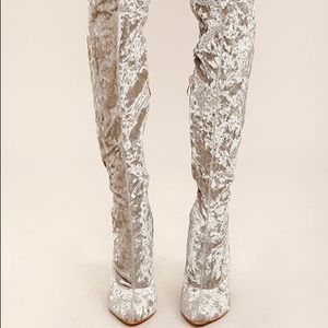 Shoes - Crush Velvet Thigh High Boots